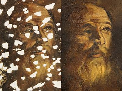 Detalle del antes y después de uno de los lunetos en los que se ha intervenido